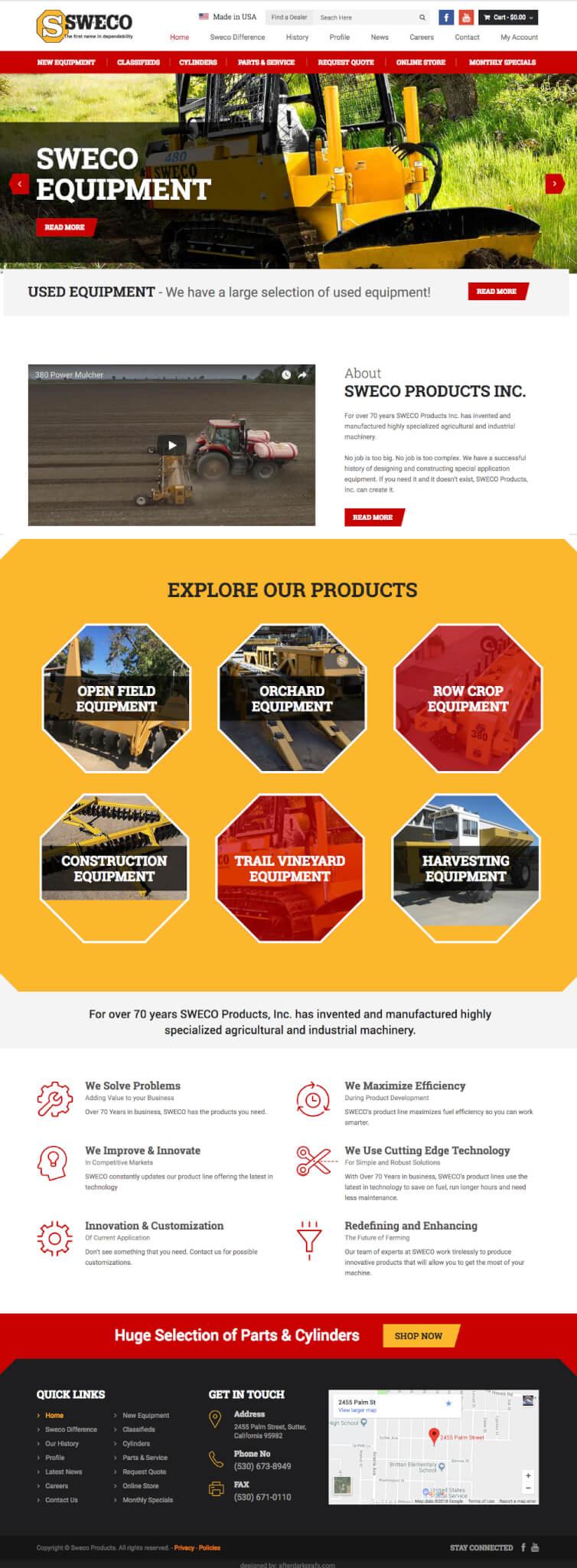 SWECO Homepage Website Design WooCommerce After Dark Grafx San Diego