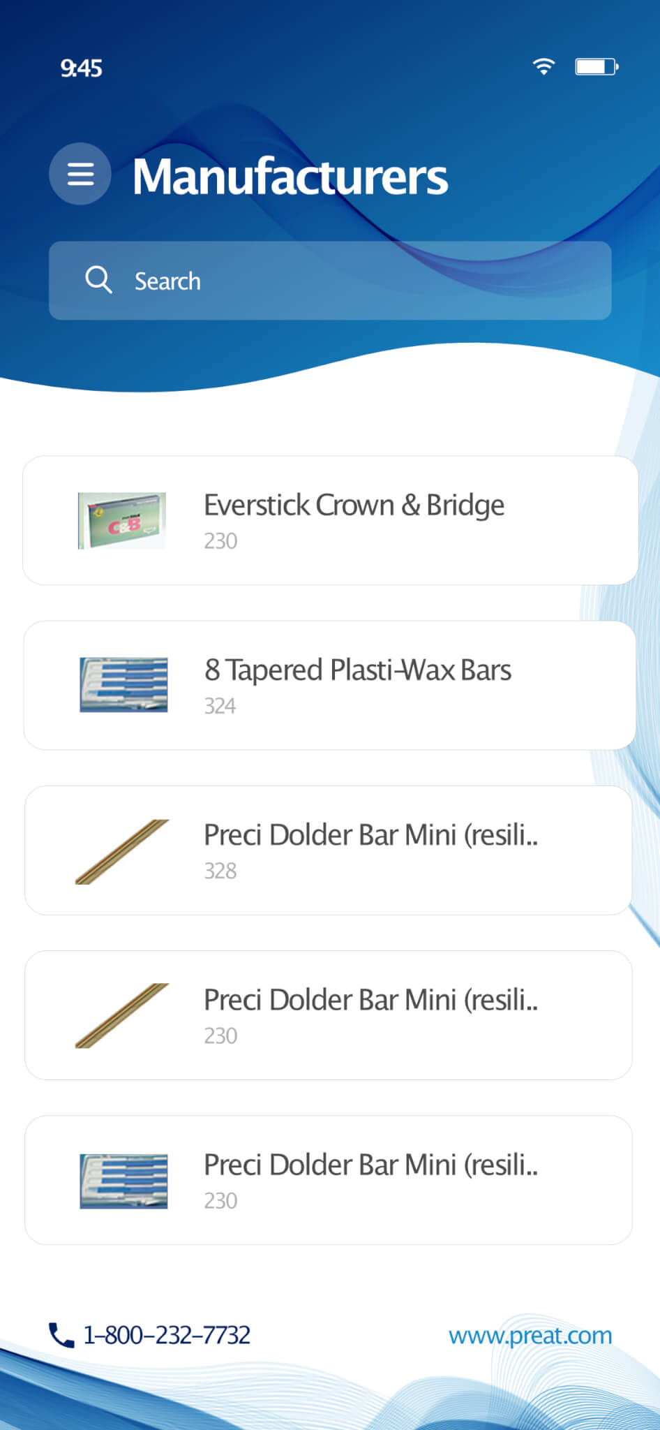 PREAT DENTAL APP SCREEN SHOT PRODUCTS LIST DEVELOPED BY AFTER DARK GRAFX