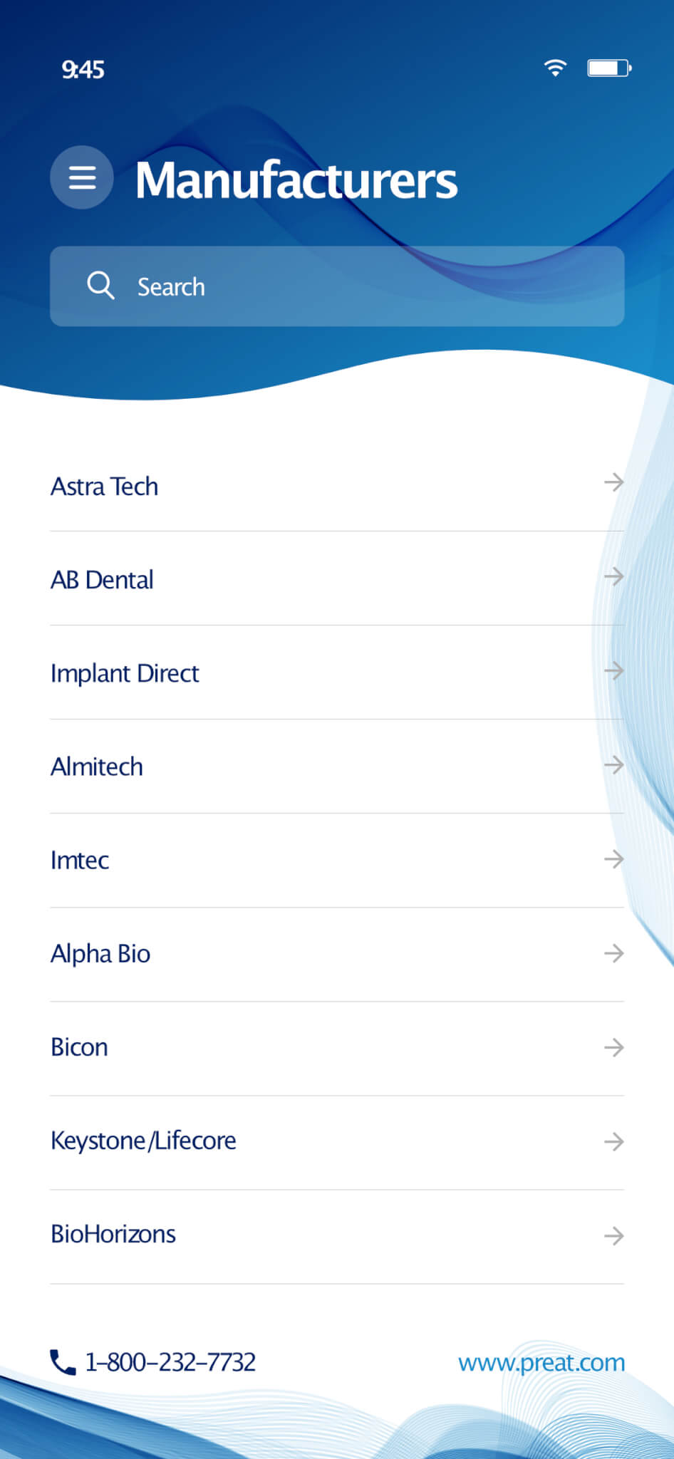 DENTAL MANUFACTURERS PREAT DENTAL APP BY AFTER DARK GRAFX