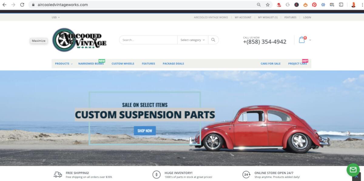 Shopify Developer San Diego - Air Cooled Vintage Works