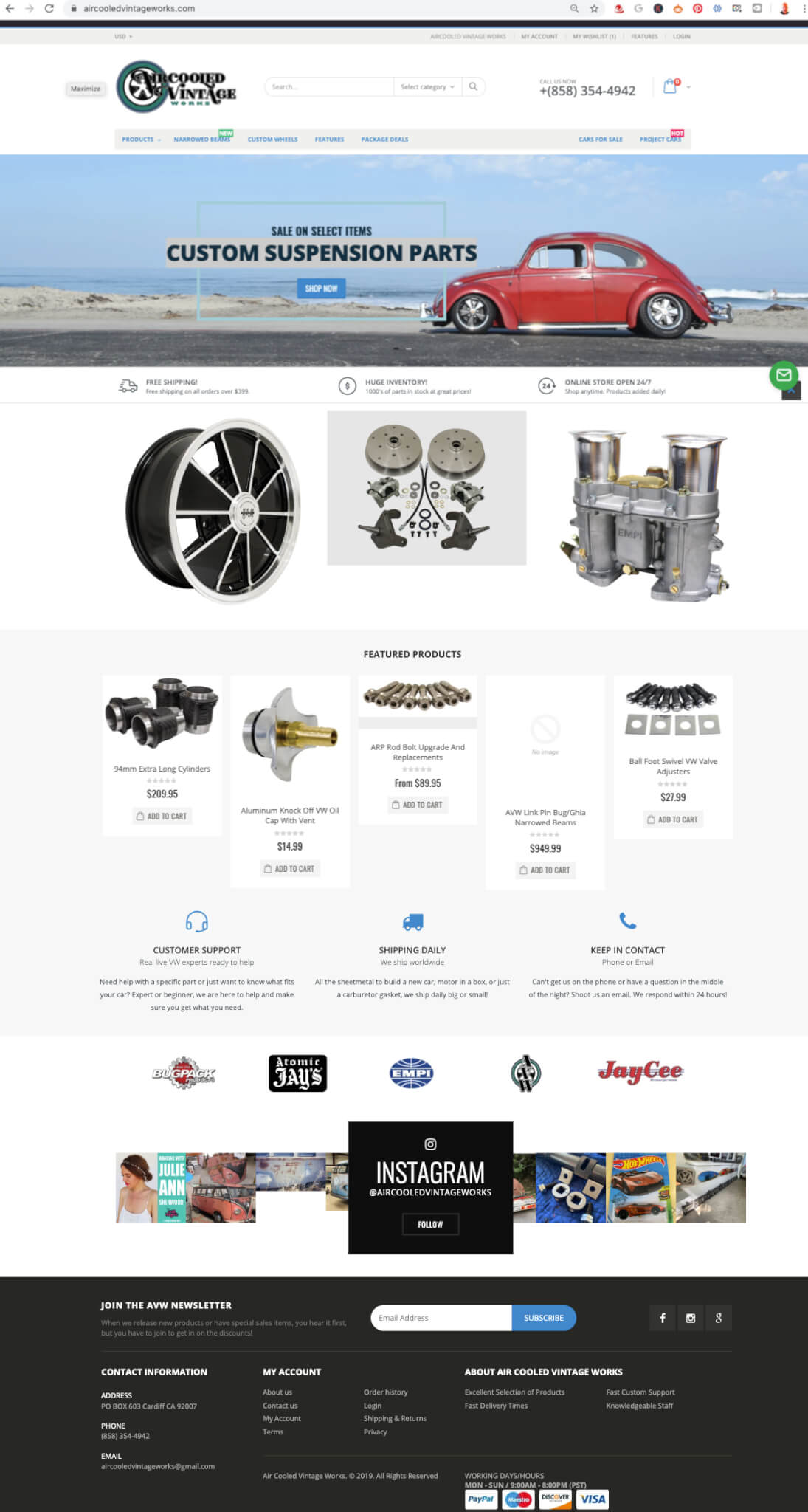Web Development Company - Shopify Air Cooled Vintage Works Homepage