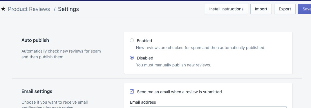 Shopify Product Reviews Settings