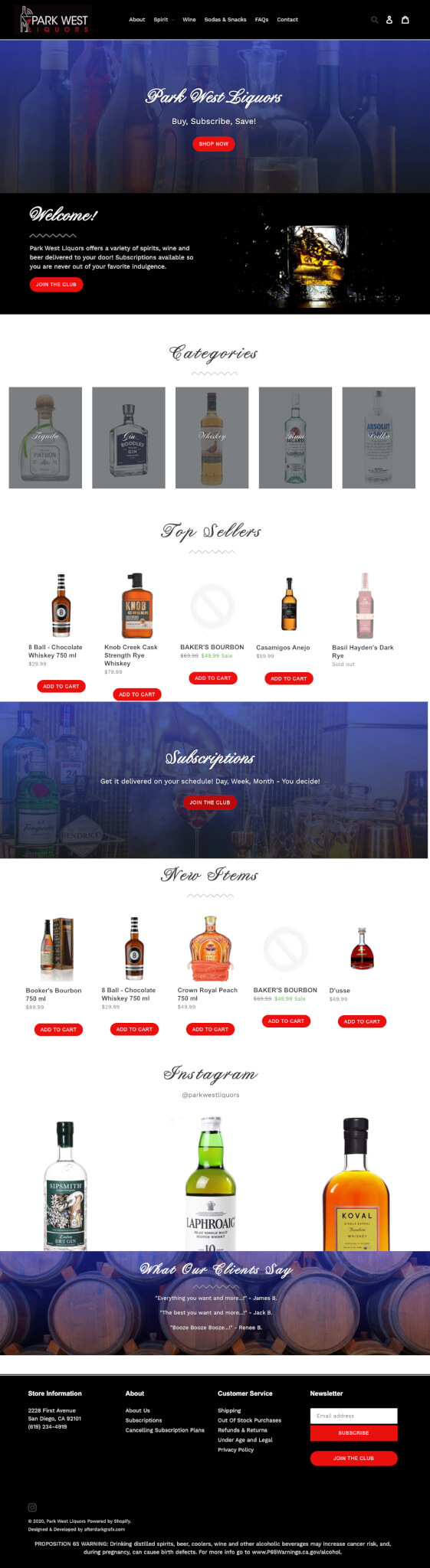 Shopify Designer San Diego - Park West Liquors Website Design Development